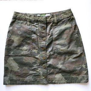 Anthropologie Green Camo Mini Skirt